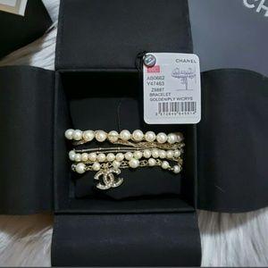 CHANEL 2019 CC Gold Tone & Pearl Bracelet